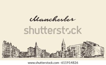 Manchester skyline, Greater Manchester, England, vintage vector illustration, hand drawn, sketch