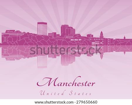 manchester skyline in purple