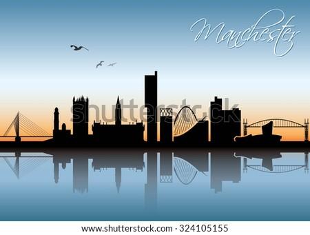 manchester skyline   vector