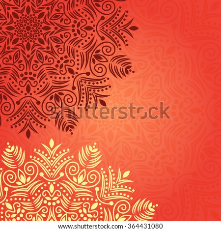 Mandala background. Bohemian style. Pattern with vintage round ornament, decorative indian medallion, abstract flower element. Henna vector design