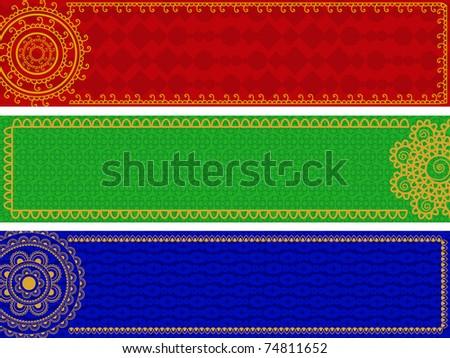 Mandala Banners, Henna inspired banners/borders - very elaborate and easily editable