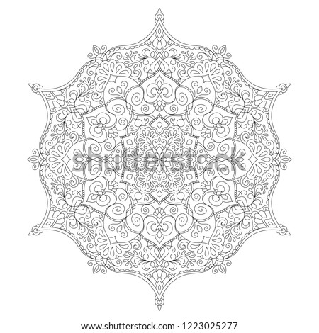 Mandala coloring page. Adult color book with decorative round ornament. Anti-stress therapy pattern. Weave design element. Yoga logo, meditation background. Unusual flower shape. Oriental vector