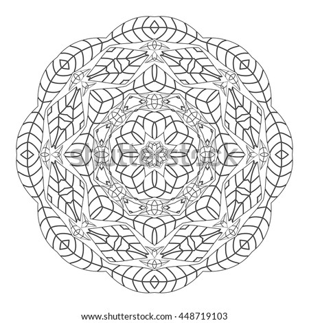 coloring page monochrome circular oriental pattern coloring book ethnicity round ornament