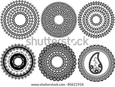 Mandala design - Henna art inspired, easily editable - stock vector
