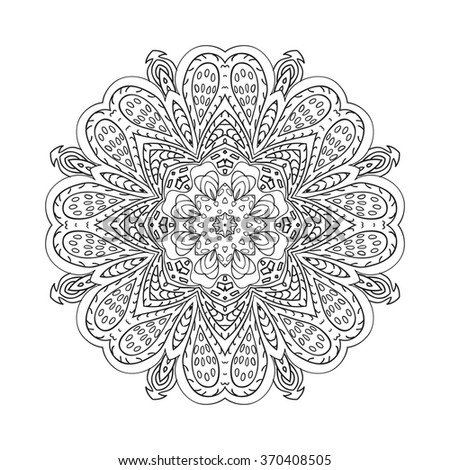 Mandala doodle drawing. floral round ornament. Ethnic motives. Zentangl Hearts. Relaxing coloring. Flower