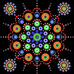 Mandala dot on black background. Floral dotted colorful design in green, purple, violet, orange, blue, red colors. Point to point ornament. Folk dot art. Ethnic style. Vector