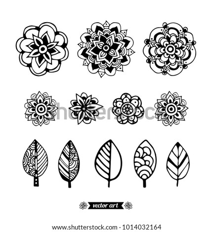 Mandala. Flowers and leaves isolated. Fashion set collection. Vector hand drawn artwork. Black and white, monochrome. Coloring book pages for adults and kids. Zentangle Illustration. Boho, bohemian.