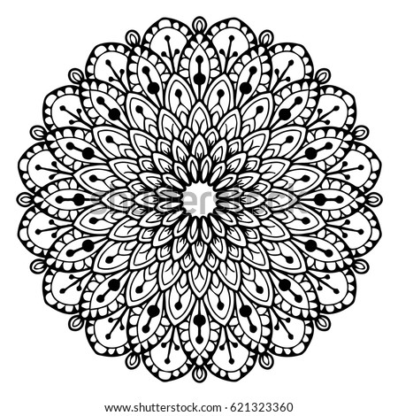 Mandala for coloring book. Decorative round ornaments. Unusual flower shape. Oriental vector, Anti-stress therapy patterns. Weave design elements. Yoga logos Vector.
