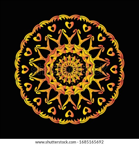 Mandala Graphic design for art, illustration,Henna, Mehndi, tattoo, decoration. Decorative ornament in ethnic oriental style. Coloring book page and any other kind of design
