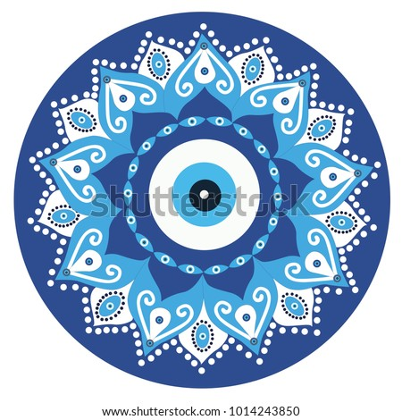 Mandala greek evil eye vector - symbol of protection - blue turkish