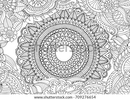 Mandala inside floral zentangle frame. Abstract adult coloring book page