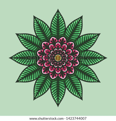 Mandala. Islam, Arabic, Asian ornamental motifs. Multicolor circular element. Decorative detail for ornaments. Different color decisions
