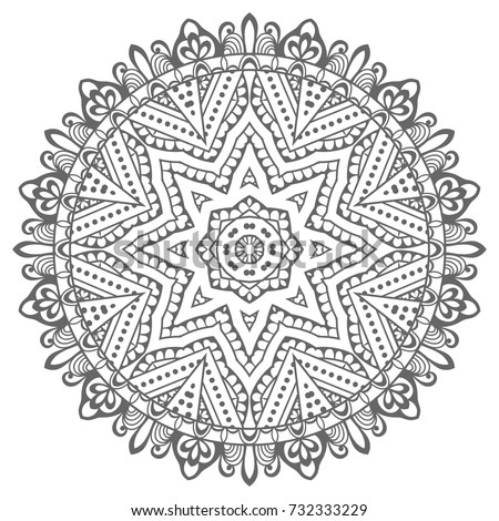 Mandala isolated design element, geometric line pattern. Stylized floral round ornament. Zen doodle style art, monochrome sketch for coloring book page. Tribal ethnic arabic, indian motif