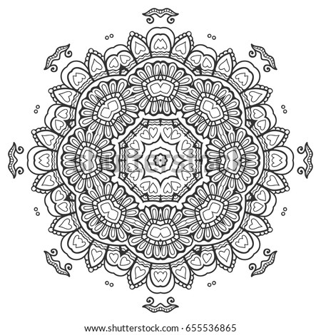 Mandala isolated round ornament, stylized floral pattern. Zen doodle style art, monochrome sketch for coloring book page. Tribal ethnic arabic, indian motif. Black and white geometric line background