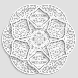 Mandala, lacy paper doily, decorative flower, decorative snowflake,  embossed pattern, arabic ornament, indian ornament, 3D,  round element,  vector