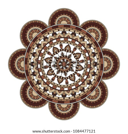 Mandala. Round ornament floral pattern. Decorative element. Oriental motif.