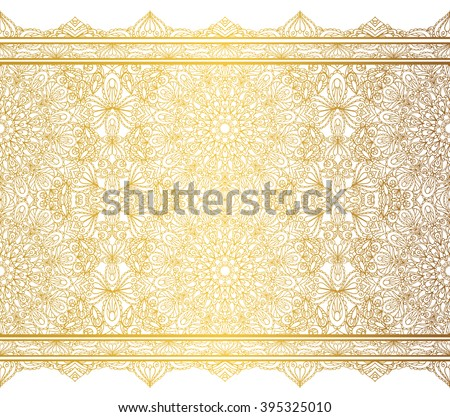 Mandala seamless pattern borders,strips background.Vintage decorative ornament.Hand drawn background.East,Islam,Arabic Indian,ottoman,thai motifs.Abstract Tribal,ethnic texture.Orient  lace,Gold