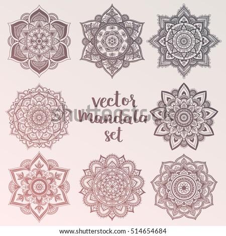 Mandala. Set of vector circle ornaments. Abstract sacred geometry. Boheamin hipster colors. Boho mandala collection.
