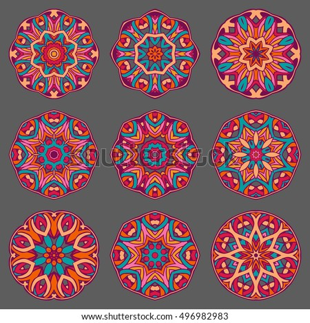 Mandala sign collection. Round Ornament Pattern. Ethnic decorative elements. Colorful Islam, Arabic, Indian and ottoman motives