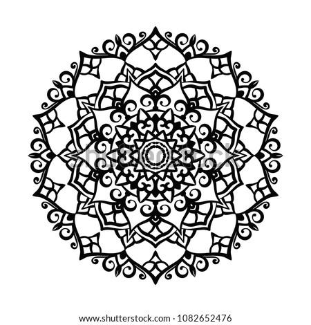 Mandala Tattoo Design Element. Round ornament decoration. Line flower pattern. Stylized floral motif. Chakra symbol for meditation yoga logo. Complex flourish weave medallion. Hand drawn print