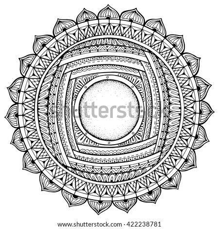 Number Names Worksheets pictures of flowers to trace : Mandala Theme. Floral Wreath Pattern With Dots, Lines And Flowers ...