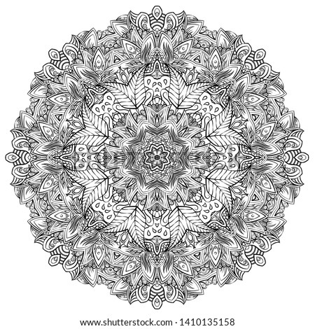 Mandala, tracery wheel mehndi design. Ethnic ornament, doodle symmetry texture. Folk traditional spiritual tribal design. Curved shape, isolated on white. Binary monochrome black and white art. Vector Foto stock ©