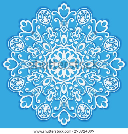 Mandala, tribal ethnic ornament, islamic arabic indian pattern. Trendy geometric silhouette with shadow, vector illustration