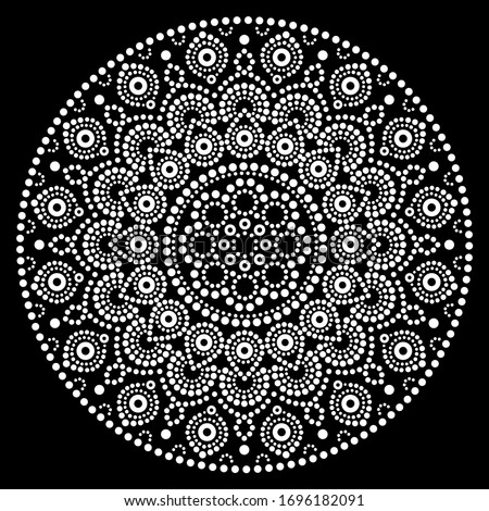 Mandala vector art, Australian dot painting white design on black, Aboriginal folk art bohemian style  Stock photo ©