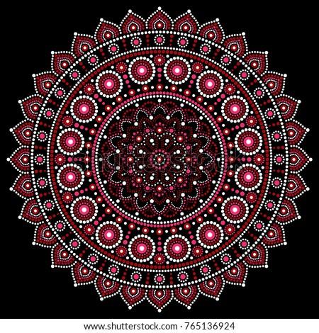 Mandala vector design, Aboriginal dot painting style, Australian folk art boho style Mandalas dot pattern in red and pink inspired by traditional art from Australia on black background