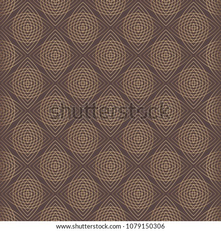 Mandala Vector Design Element. Golden round ornament decoration. Line flower seamless pattern. Stylized floral motif. Simple geometric background.