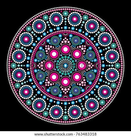Mandala vector dot painting style, Aboriginal folk art, Australian traditional ethnic design   Abstract mandala with dots, circles inspired by traditional, indigenous art from Australia, geometric com