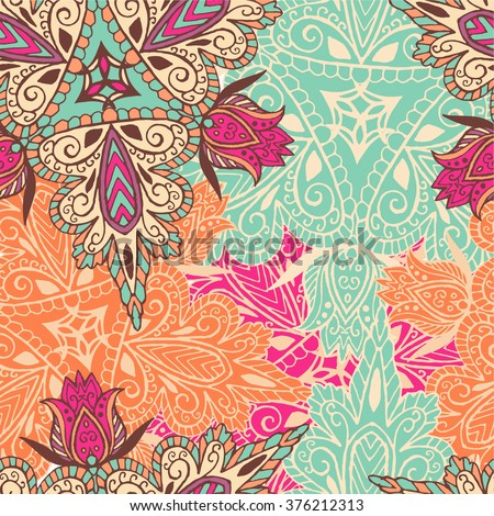 Mandala vector pattern. Seamless. Hand drawn. Islam,Arabic, Indian. Perfect for printing on fabric or paper. Boho style.Cloth design, wallpaper, wrapping. Modern  texture. Repeating geometric tiles.