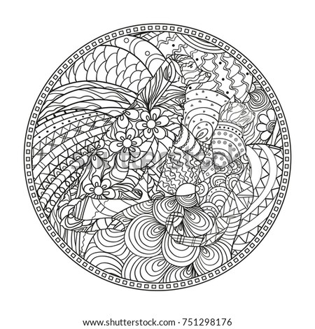 Mandala with dog and cat. Zentangle. Hand drawn circle zendala. Abstract patterns on isolation background. Design for spiritual relaxation for adults. Zen art. Line art creation