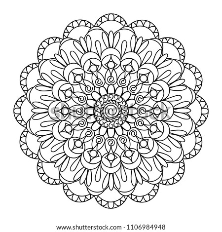 Mandala With Hand Drawn Elements In Arabic Indian Turkish Pakistan Motifs Image Shape For Coloring Floral Kaleidoscope Ornament