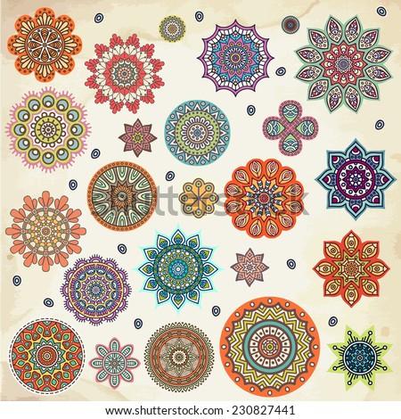 Mandalas Round Ornament Pattern Vintage decorative elements Hand drawn background Islam Arabic Indian ottoman motifs
