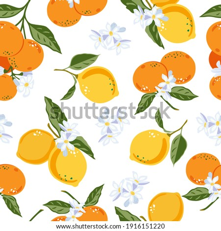 Mandarins and lemons floral pattern, vector seamless fruit background, citrus fruits, flowers, leaves, lime branches texture. Citrus design for fabric, print, covers, wedding, background, wallpaper