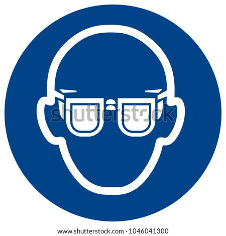 Mandatory sign vector - Wear glasses. Eye protection must be worn symbol, label, sticker Stock photo ©