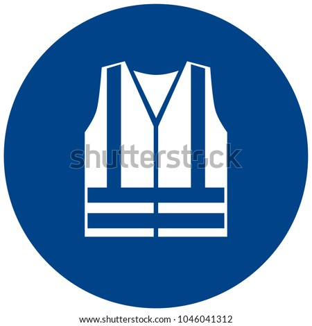 Mandatory sign vector - Wear high visibility clothing, workwear symbol, label, sticker. High visibility clothing must be worn in this area