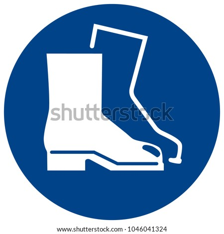 Mandatory sign vector - Wear protective footwear, shoes symbol, label, sticker Stock photo ©
