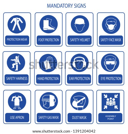 mandatory signs, construction health, safety sign used in industrial applications (safety helmet, ear protection, eye protection, foot protection, protection suite,nose cover,harness/belt,mask,apron)