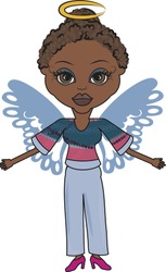 Mandy is a fun character illustration of an African American Angel