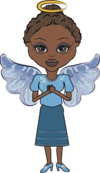 Mandy is a fun character illustration of an African American Angel.