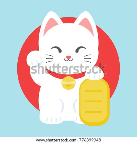 Maneki neko icon, japan lucky charm