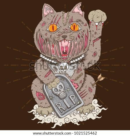 maneki neko zombie cat