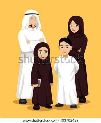 Manga Arab Family Cartoon Vector Illustration