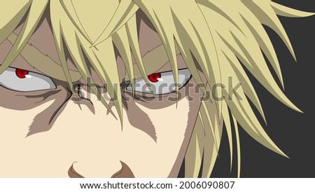 Manga character face. Banner for anime, manga, cartoon. Emotion of anger.