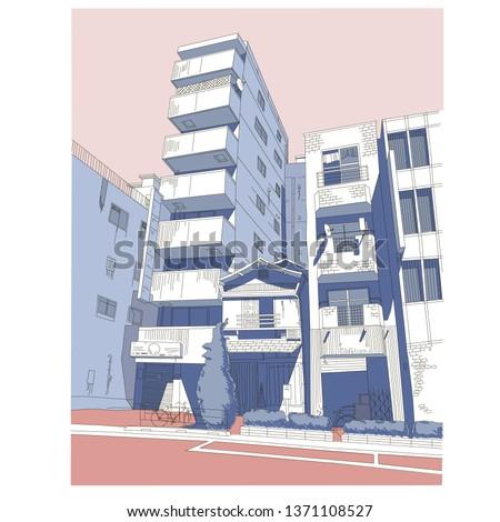 manga color landscape/ Tokyo streets/ anime background style/ manga style/ japan architecture