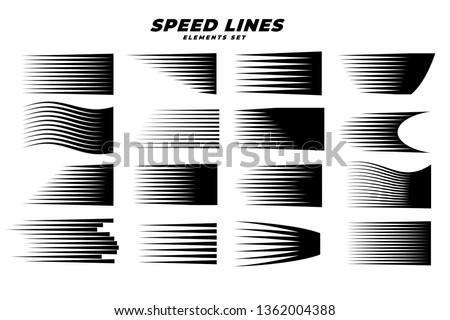 manga comic motion speed lines set