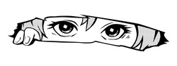 Manga eyes looking from a paper tear. Drawing of black and white anime girl peeps out