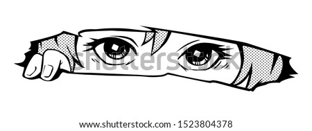 manga eyes looking from a paper